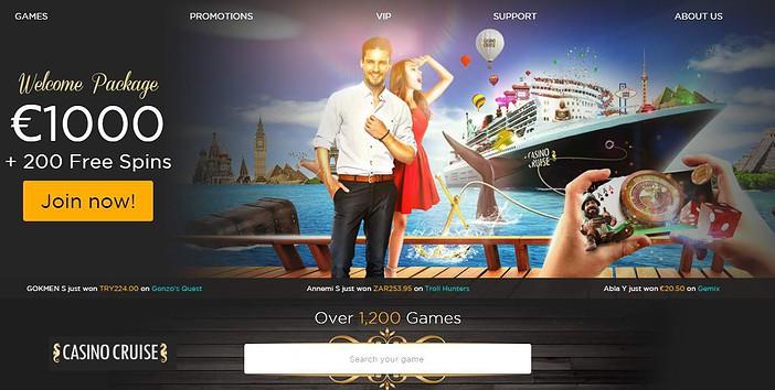 Casino Cruise Review: 1000 euro free bonus and 200 gratis spins