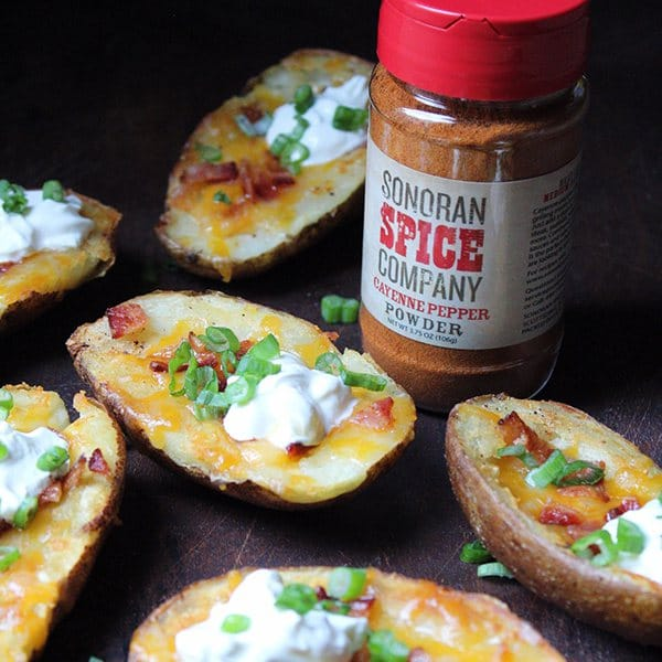 Cayenne Pepper Loaded Crispy Potato Skins