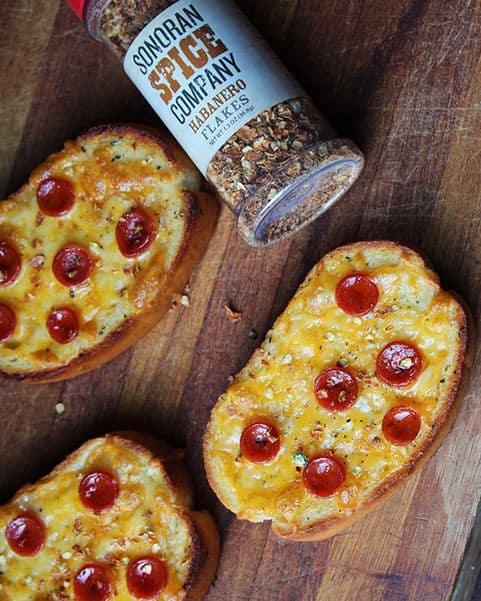 French Bread Mini Pizzas with Habanero Flakes
