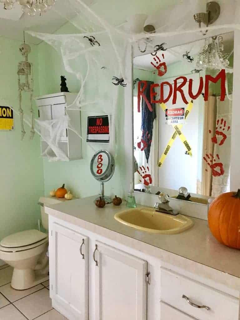 Bathroom decorated for Halloween