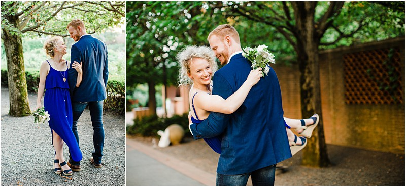groom lifting the bride in the pathway of Botanic Garden my favorite pose