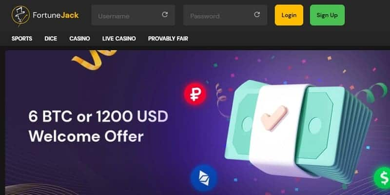 FortuneJack 6 BTC or 1200 USD welcome offer