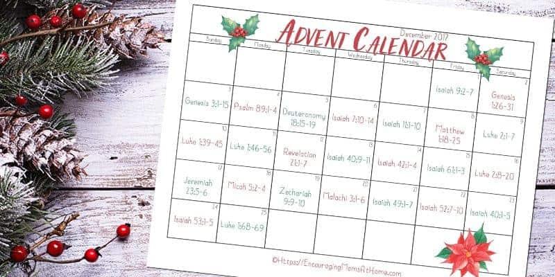 Bible Verse Calendar for December