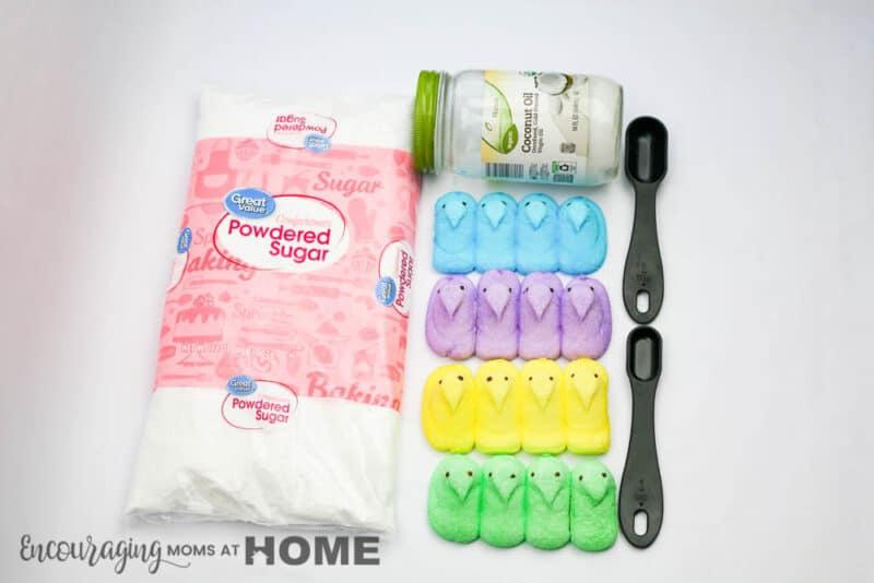 Ingredients for Edible Peeps Playdough Recipe: Powdered Sugar, Peeps, Coconut Oil