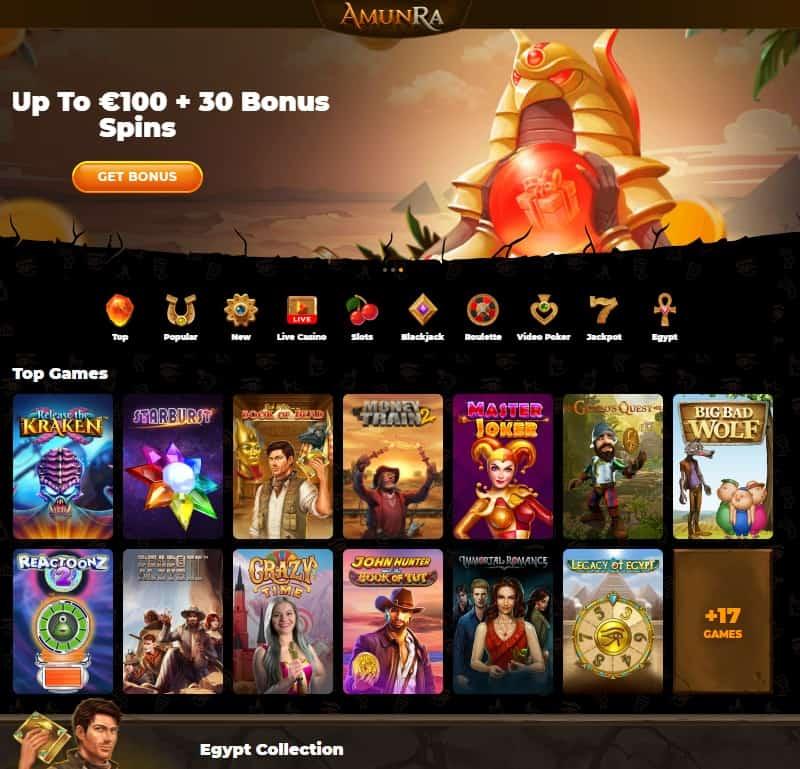 AmunRa Casino 30 free spins