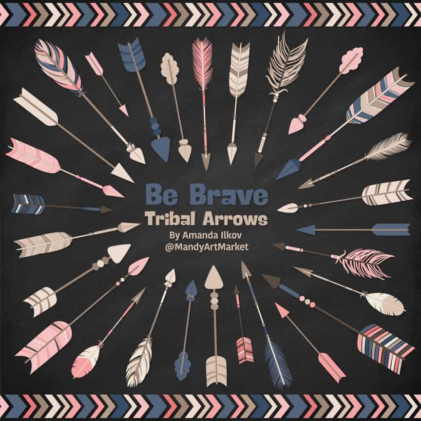 Navy & Blush Tribal Arrows Clipart