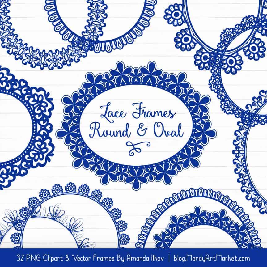 Royal Blue Round Digital Lace Frames Clipart