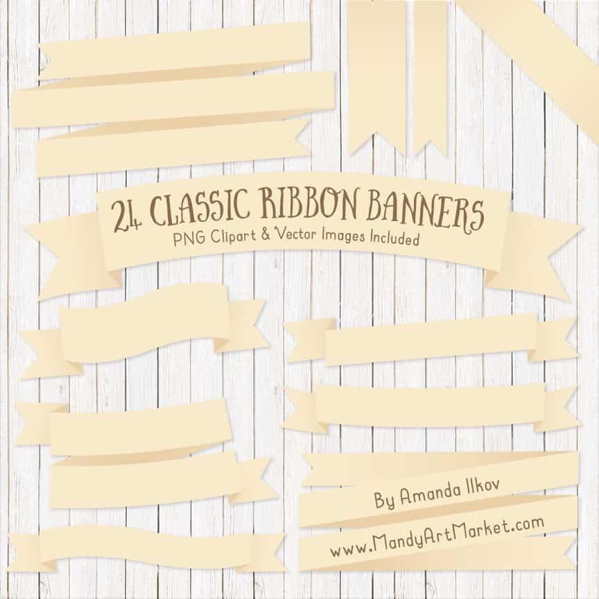 Cream Ribbon Banner Clipart