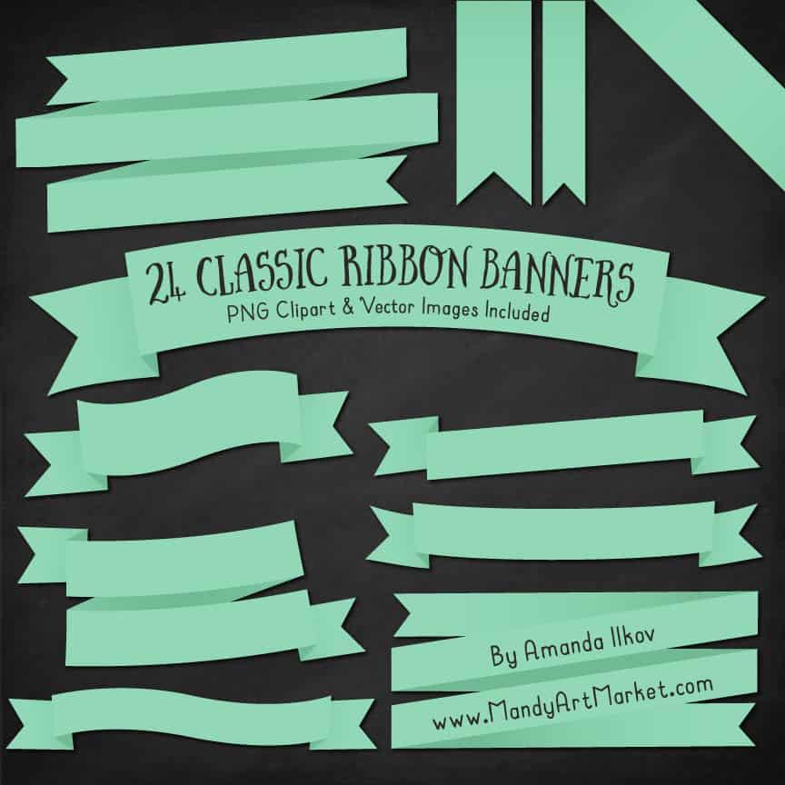 Mint Ribbon Banner Clipart