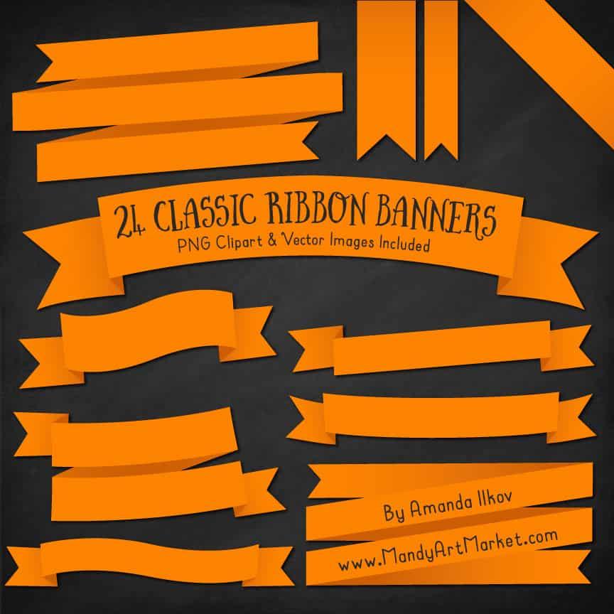 Orange Ribbon Banner Clipart