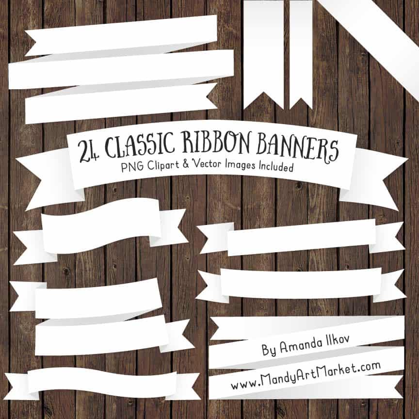 White Ribbon Banner Clipart