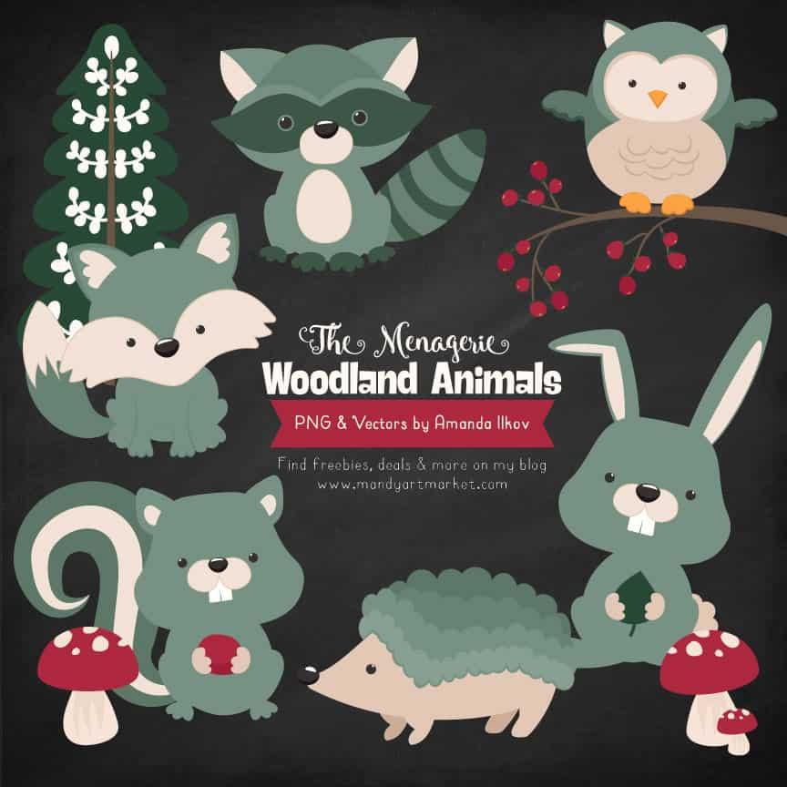Hemlock Woodland Animals Clipart