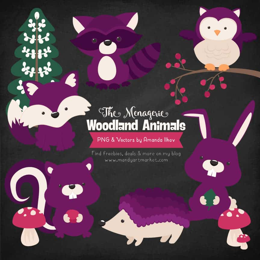 Plum Woodland Animals Clipart