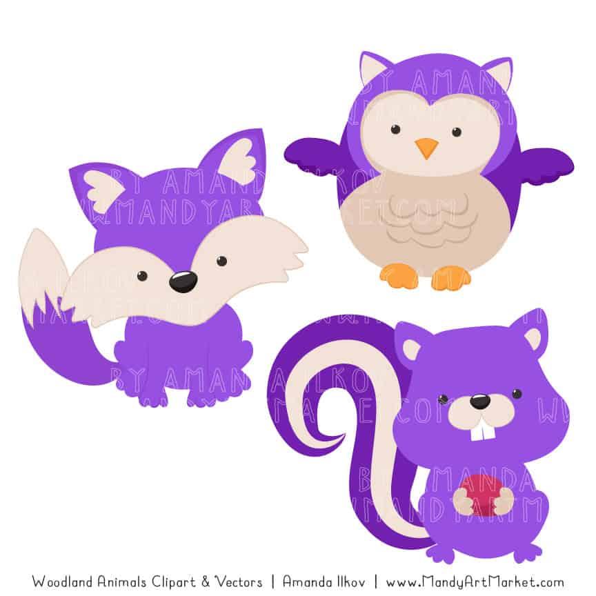 Purple Woodland Animals Clipart