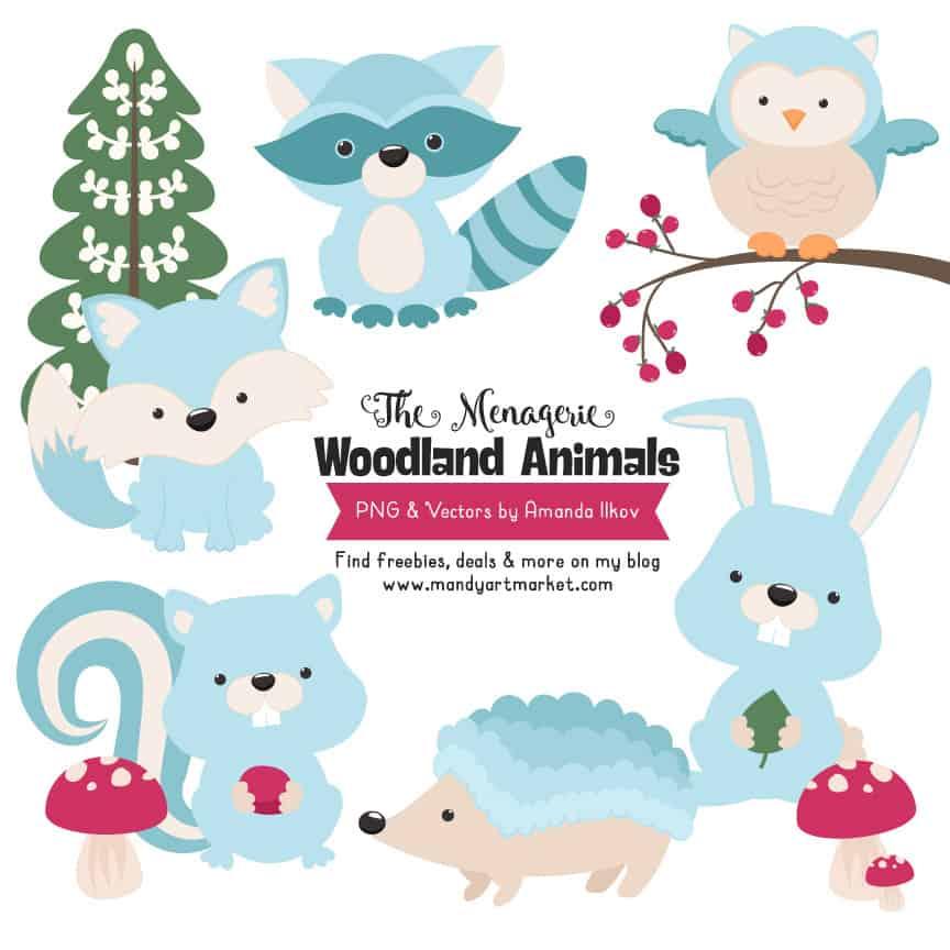 Soft Blue Woodland Animals Clipart