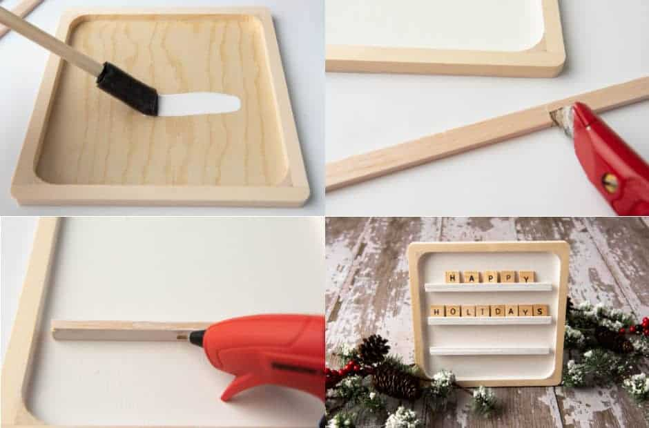 collage of steps to make letter board