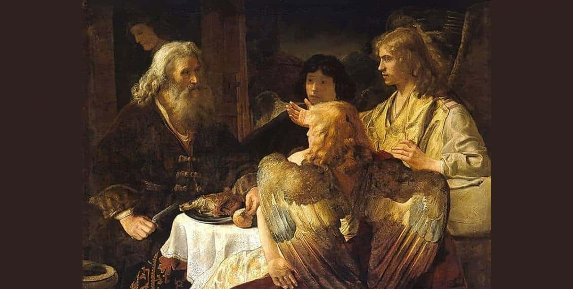 Abraham and the angels - Rembrandt