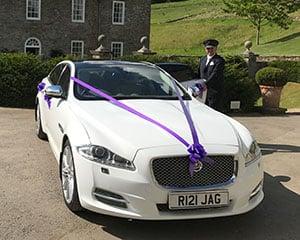 The Jaguar XJ LWB used by South West Wedding Car Hire