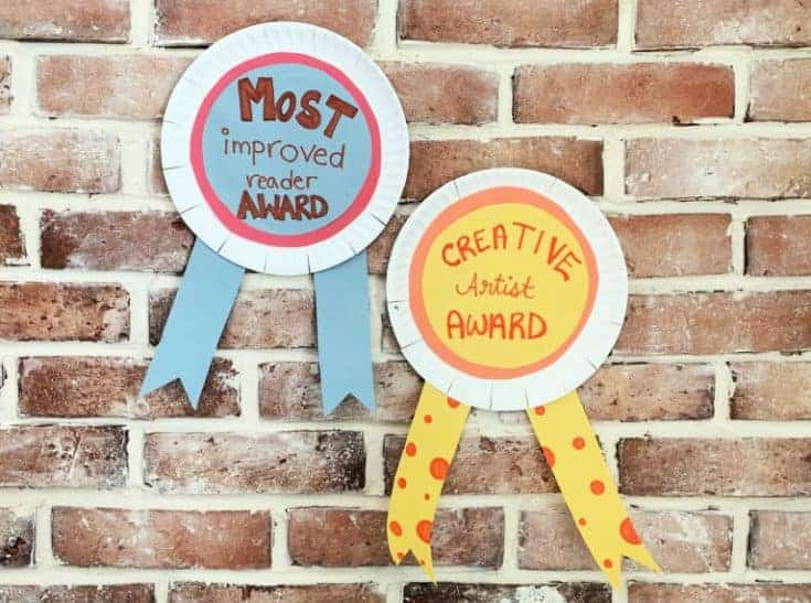 paper plate awards for creative artist and most improved reader