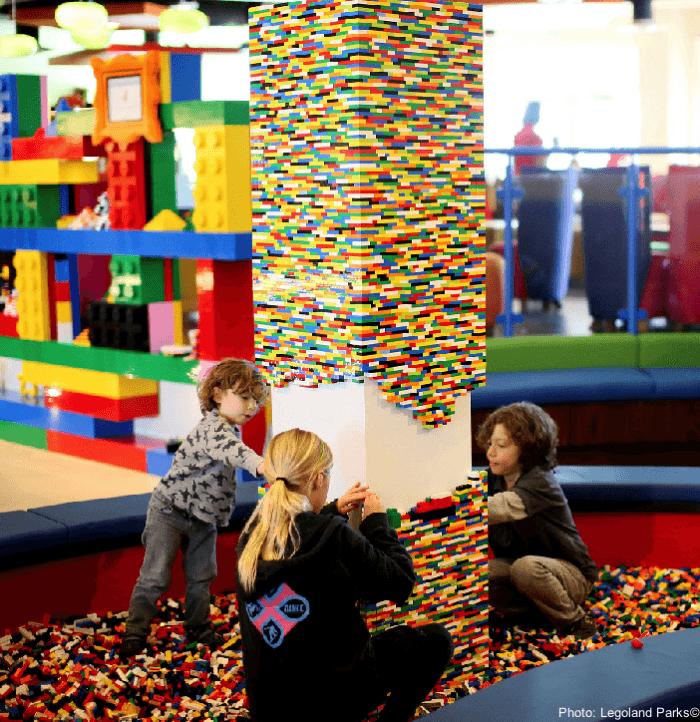 Legos in the lobby of the legoland hotel, california