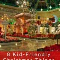 Las vegas turns on the christmas cheer, and plenty of holiday lights between thanksgiving and new year. Here are 8 things to do if you visit with kids in december. #lasvegas #kids #vacation #christmas #travel #ideas #hotels #decorations #fun #nevada