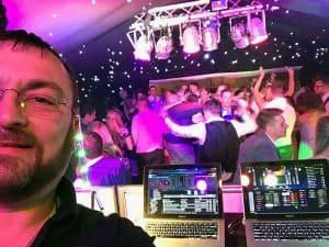 DJ Wayne Braybrook at work at The Old Hall in Ely