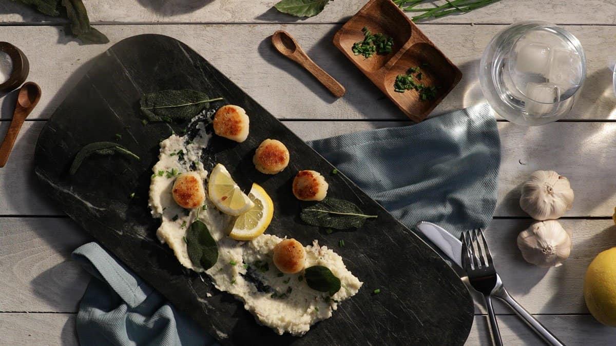 Seared Scallops, Celery Root Purée & Crispy Sage