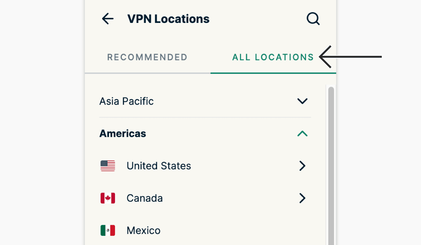 """Click """"All"""" Locations to see the list of all available VPN locations."""