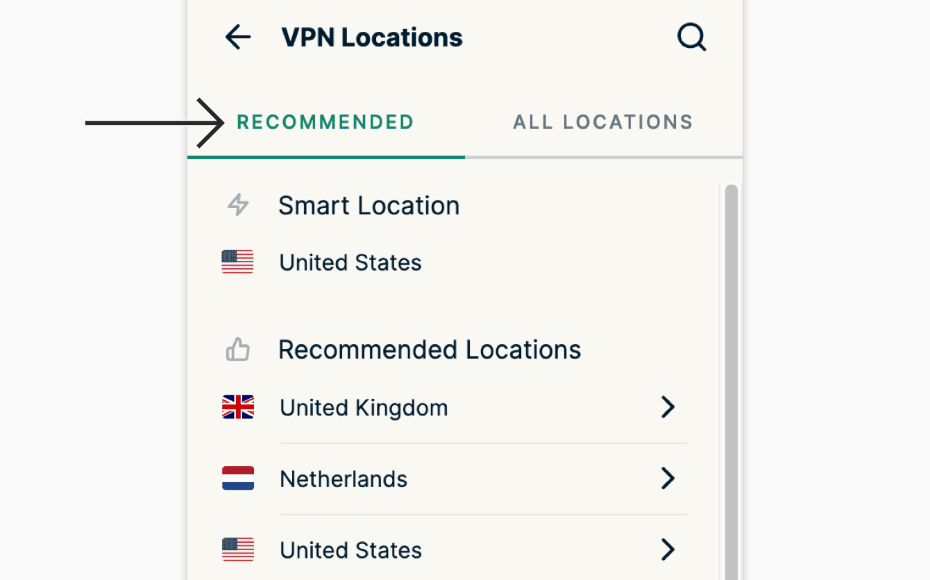"""Pick from """"Recommended"""" locations within the extension."""