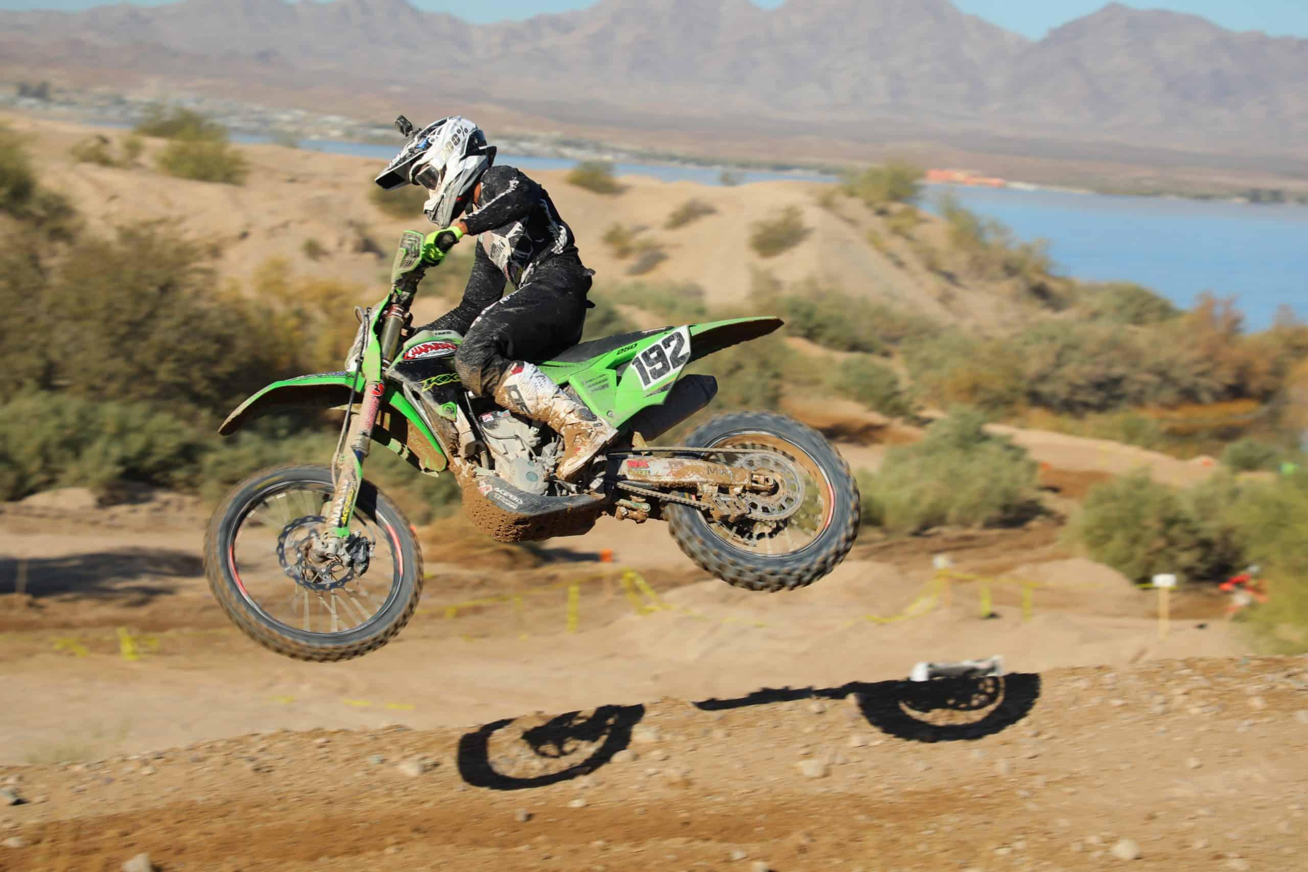 jp alvarez riding his kx250x at the 2020 havasu worcs