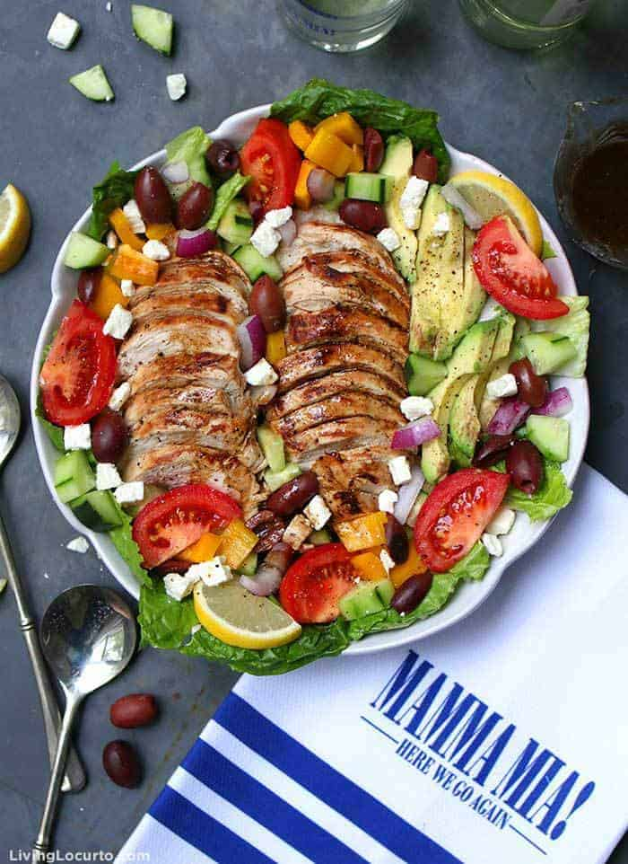Baked Chicken Greek Salad with Avocado. Juicy baked chicken and fresh avocado slices loaded onto a homemade Greek salad is an irresistible low carb recipe packed with flavor!