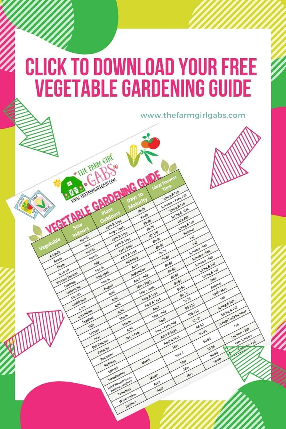 Get Your Garden Growing this spring. This Printable Vegetable Gardening Guide has an extensive list of vegetables to grow in your garden. #gardeningtips #gardeningideas #vegetablegarden