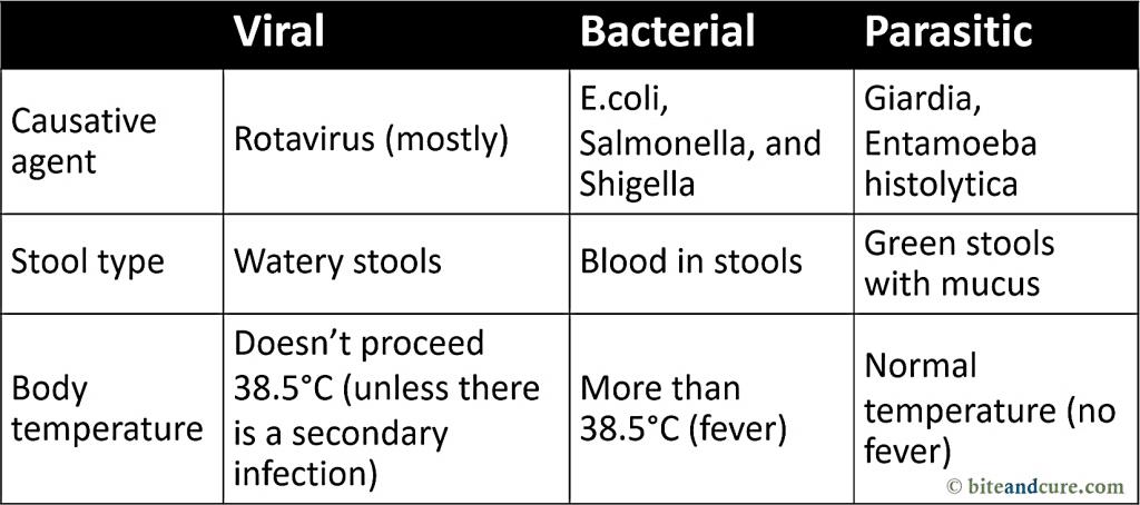 Types of infectious diarrhea