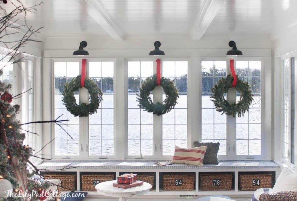 Wreaths on interior windows