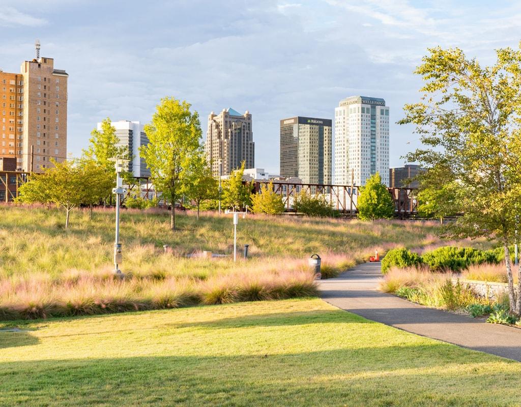 City skyline of Birmingham from Railroad Park