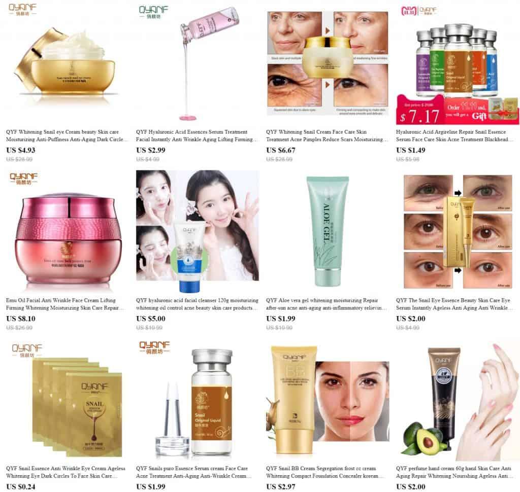AliExpress Beauty Product Skincare Trusted Cheap Wholesale Price Safe Serum Handcream China Cosmetics QYF1
