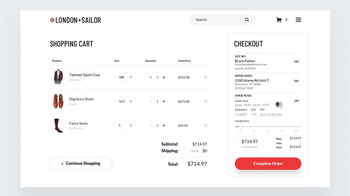 shopping card screen shot