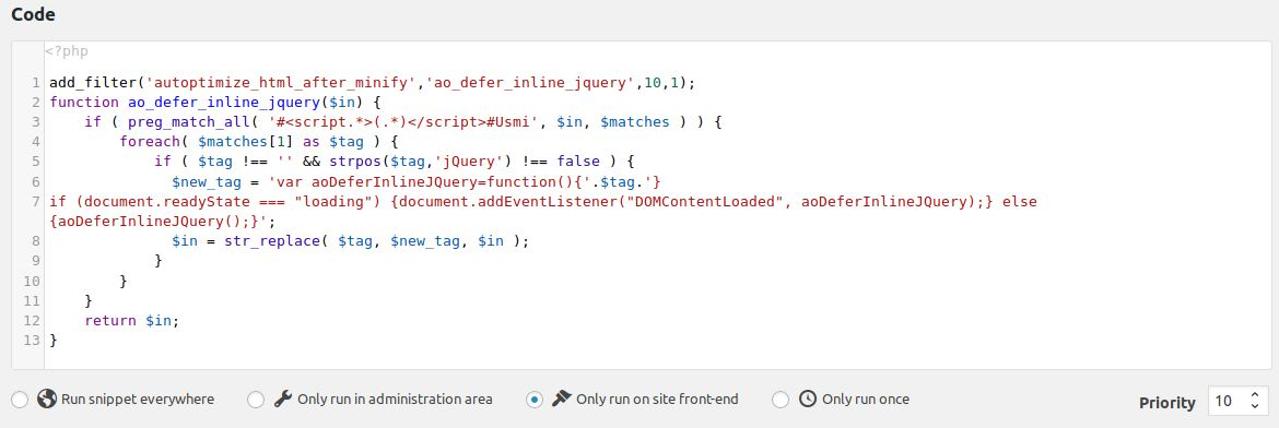 How to fix render-blocking jquery js in Autoptimize | Frank