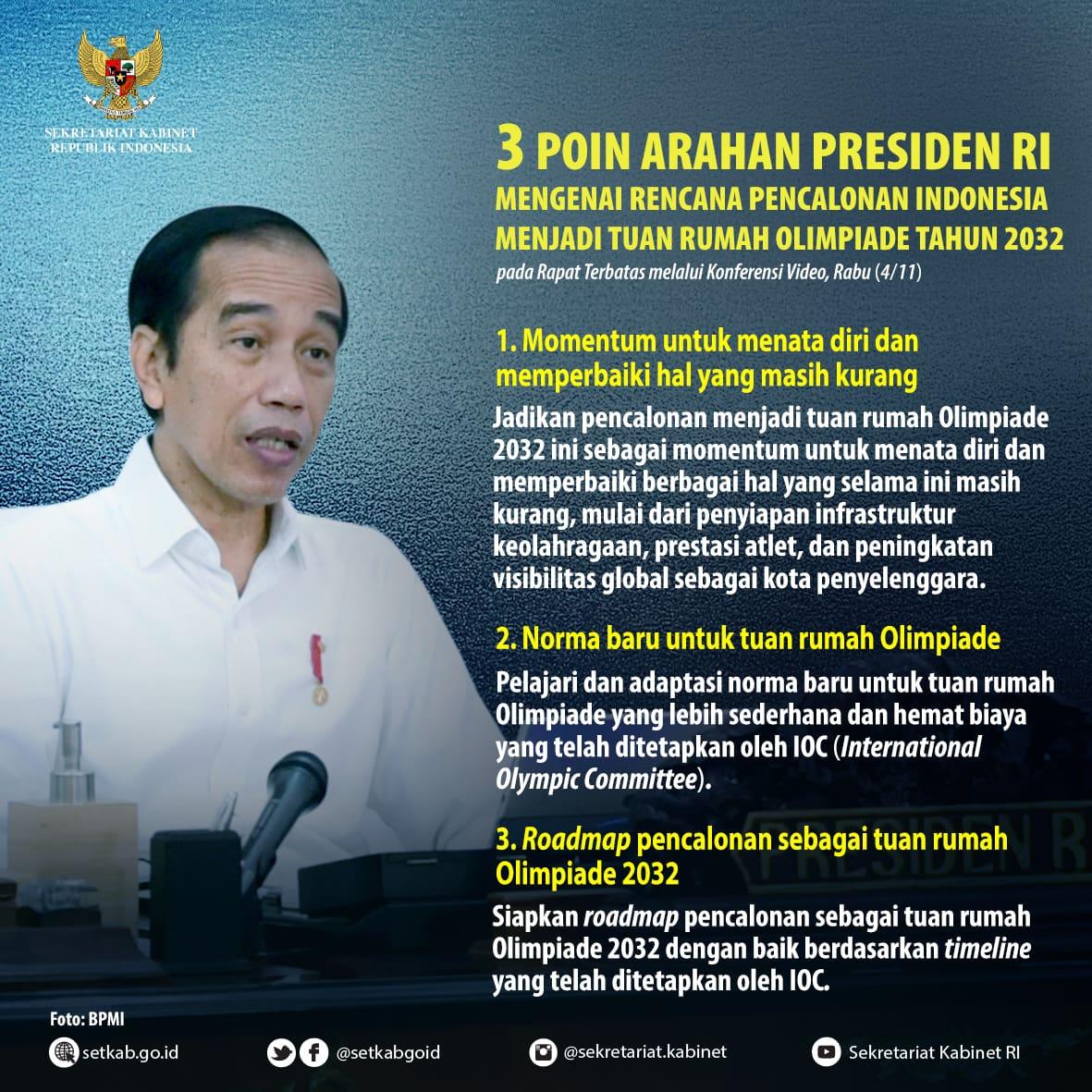 "Arahan Presiden Joko Widodo pada Rapat Terbatas ""Rencana Pencalonan Indonesia Menjadi Tuan Rumah Olimpiade Tahun 2032"", Rabu (4/11)"