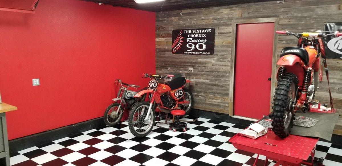 black and white garage floor tile