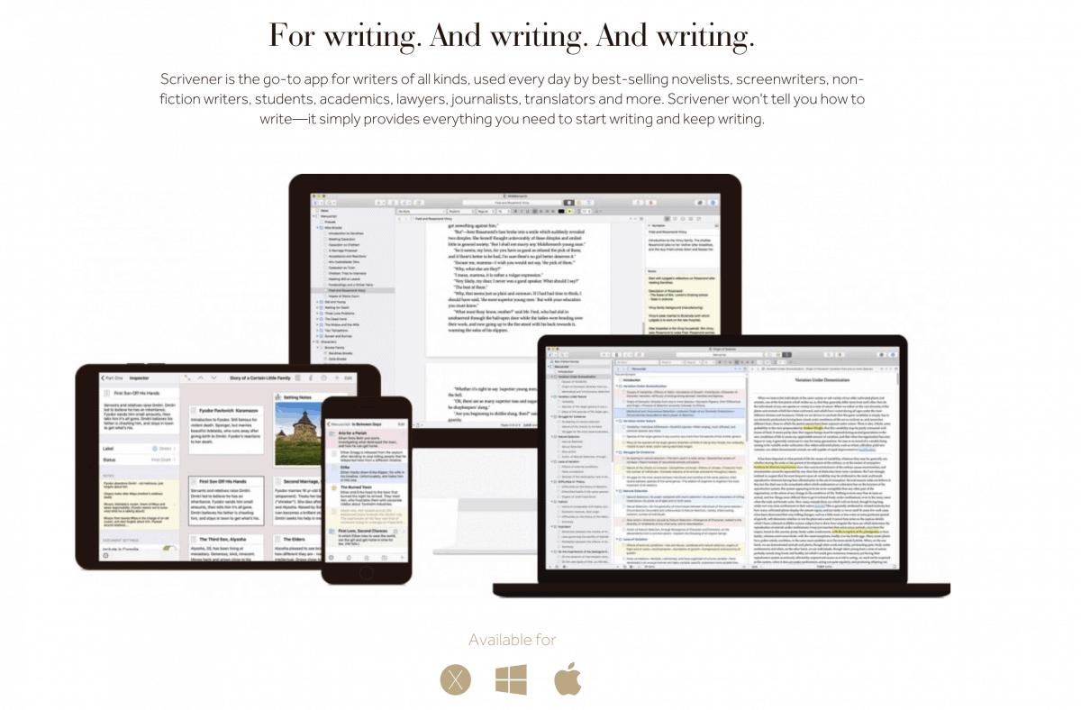 App Scrivener per scrittori