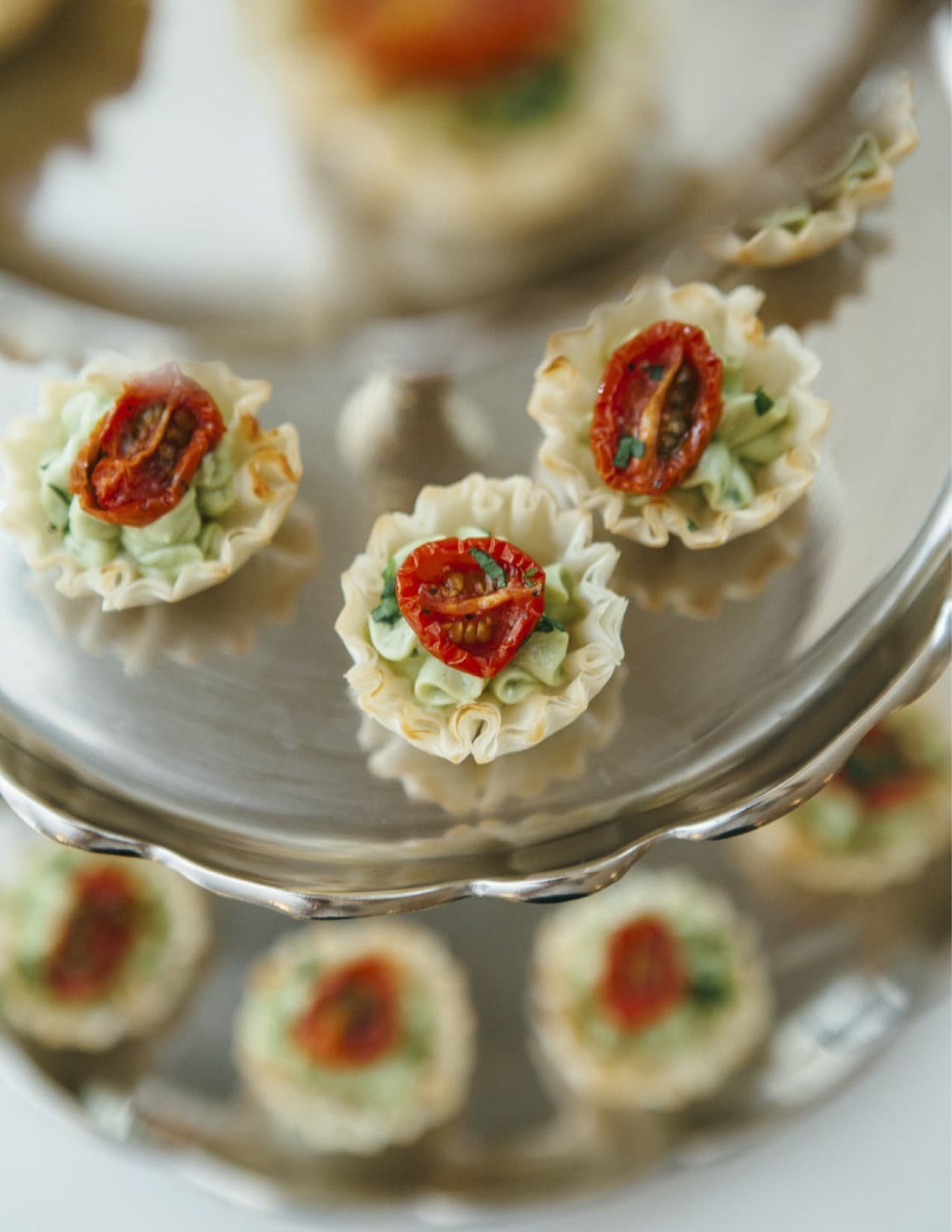 Pastry Cups with Roasted Tomato and Avocado Chive Crema