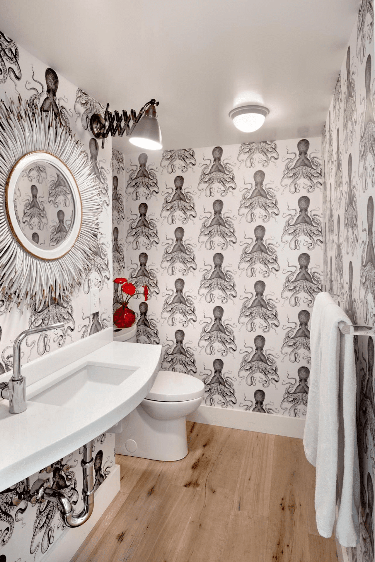 Bold Print Wallpaper for Bathroom Small Space