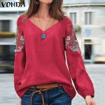 VONDA Embroidered Blouse Women Cotton Vintage Office Shirts Beach Printed Tops Bohemian Plus Size Tunic 2019 Casual Loose Blusas