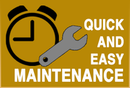 Infographic explaining quick and easy maintenance of the BA1 cobot MIG gun