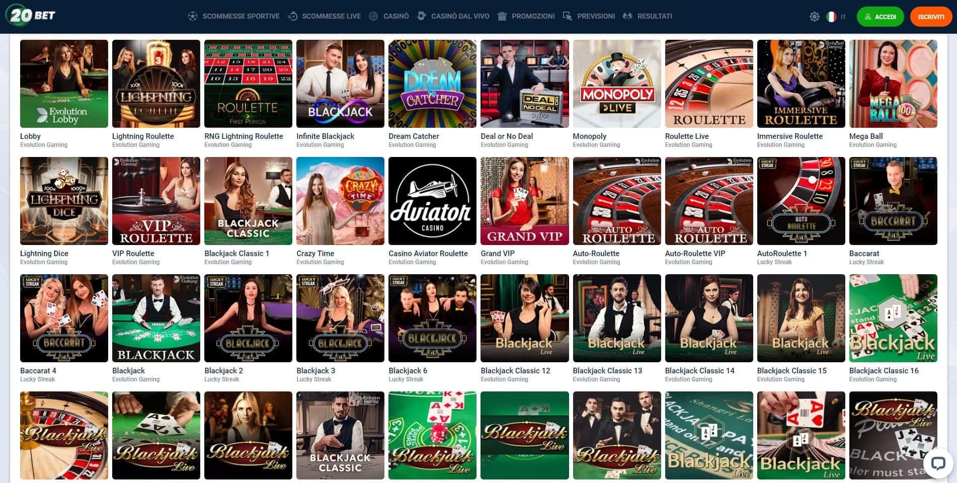 Live Casino 20bet
