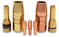 AccuLock R consumables family of contact tips, nozzles and diffusers