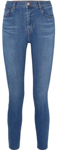 J Brand high waist raw ankle skinny jeans | 40plusstyle.com