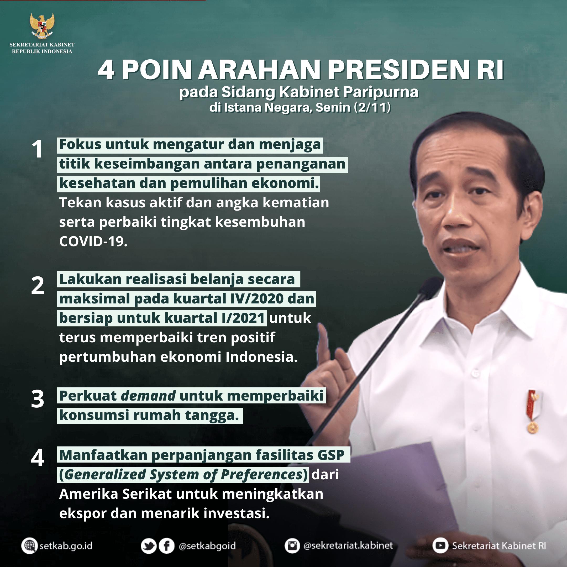 Arahan Presiden Joko Widodo pada Sidang Kabinet Paripurna, Senin (2/11)
