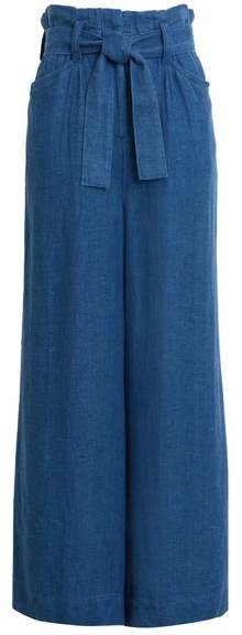 Faherty paperbag waist linen chambray pants | 40plusstyle.com